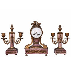 19th Louis XVI Style Marble Mantel Clock with Gilt Bronze