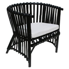 Design Black Rattan Armchair
