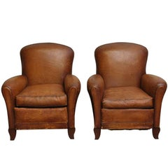 1950s Pair of French Leather Club Chairs with Studded Backs
