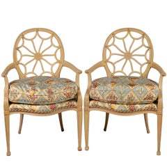 Pair of 20th Century French Louis XVI Style Open Oval Spiderweb Back Armchairs