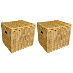 Pair of Early 20th Century French Large Wicker Storage Baskets