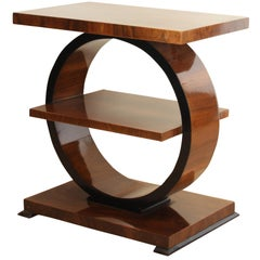 Art Deco Side Table, Walnut and Black, France, circa 1925