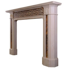Early 19th Century Statuary and Siena Marble Fireplace