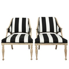 Pair of 18th Century Gustavian Upholstered Armchairs by Ephram Stahl