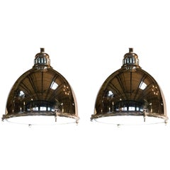 Pair of Large Industrial Pendant Lights