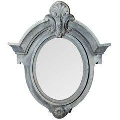 Vintage Zinc Cartouche Mirror, circa 1900s