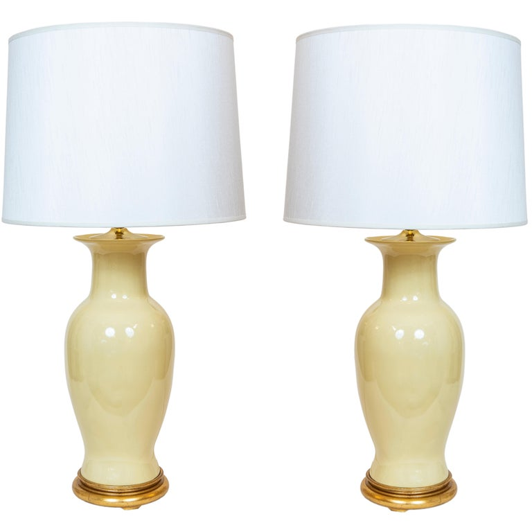Pair of Yellow Vintage Urn Shaped Table Lamps For Sale