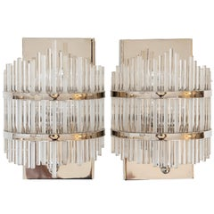 Pair of Single Light Nickel-Plated and Glass Rod Wall Sconces