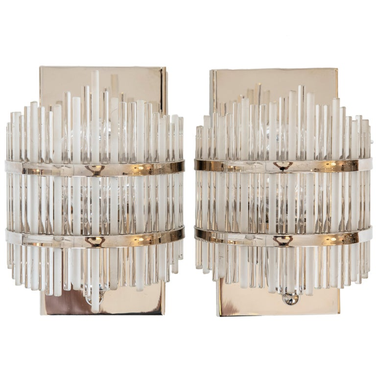 Pair of Single Light Nickel-Plated and Glass Rod Wall Sconces For Sale
