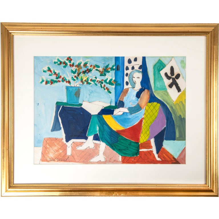Signed Oil on Paper by Canadian Artist Rene Marcil, circa 1980 For Sale