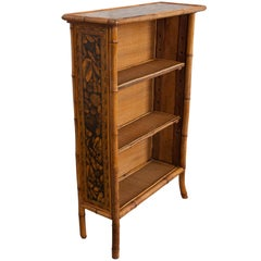 English 19th Century Bamboo Découpage Shell Bookcase