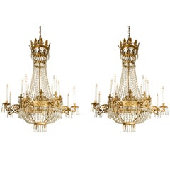 Pair of 19th Century Large Italian Empire Chandeliers Two-Tier Sixteen-Arm 1810