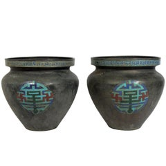 Pair of Large Scale Enameled Asian Metal Urns, circa 1930s