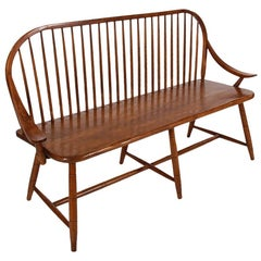 Midcentury Transitional Modern Spindle Back Bentwood Settee Bench in Walnut