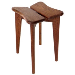 Marcel Gascoin French Tabouret Oak Trefle Side Table Edition Arhec, circa 1953