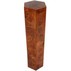 Midcentury Italian Modern Hexagonal Burl Pedestal or Side Table