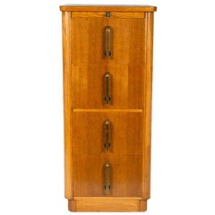 Four-Drawer Golden Oak Filing Cabinet with Bronze Handles by Abbess