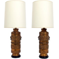 Pair of Black and Gold Asian Lamps