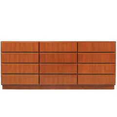 Danish Modern 12-Drawer Teak Dresser by Komfort