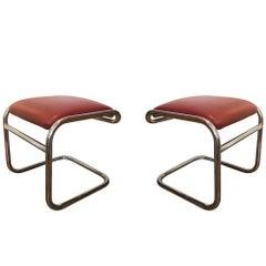 Pair of Tubular Chrome Footstools, USA, circa 1975