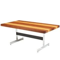 Milo Baughman Multi-Wood and Chrome Dining Table for Directional