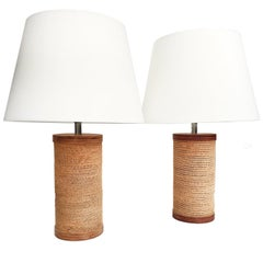 Pair of 1960s Corrugated Cardboard Table Lamps by Gregory Van Pelt