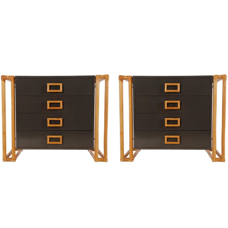 Pair Of Matching Mid Century Modern Rattan And Laminate Chests Or Nightstands For