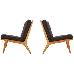 Matching Pair of Midcentury Danish Modern Slipper Lounge Chairs in Oak