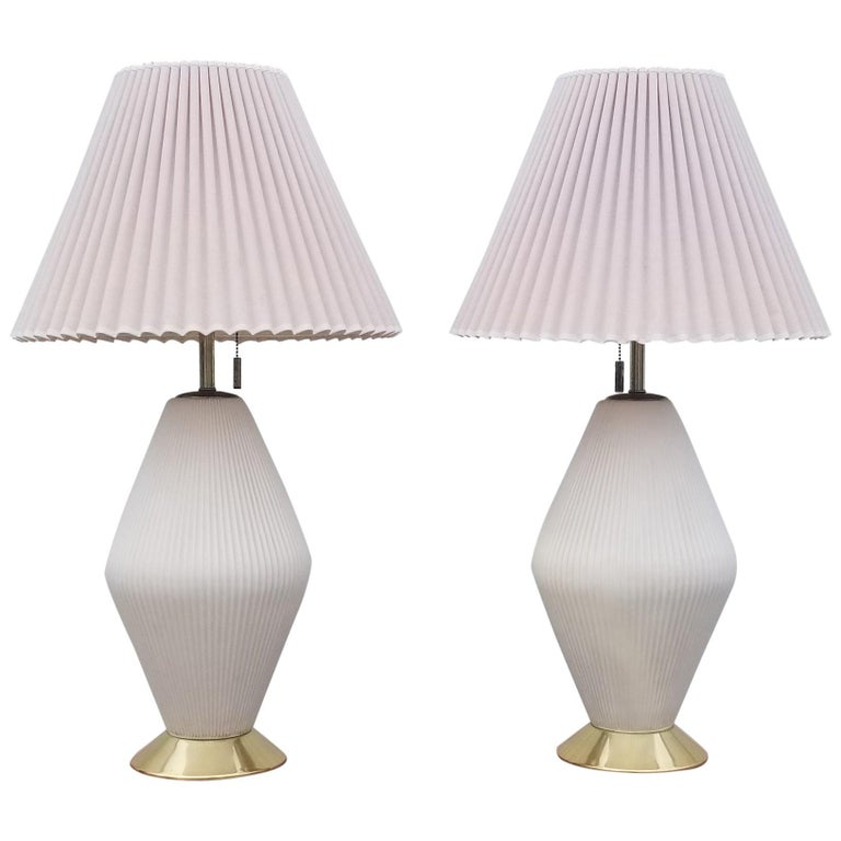 Pair of Gerald Thurston for Lightolier Porcelain Lamps