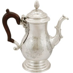Antique 1740s Georgian Newcastle Sterling Silver Coffee Pot