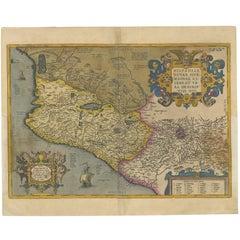 Antique Map of Mexico by Ortelius, circa 1602
