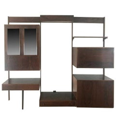 Midentury Rosewood Wall-Unit Including Table, Desk, Curio Cabinet and Light