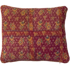 Indian Kantha Quilt Pillow