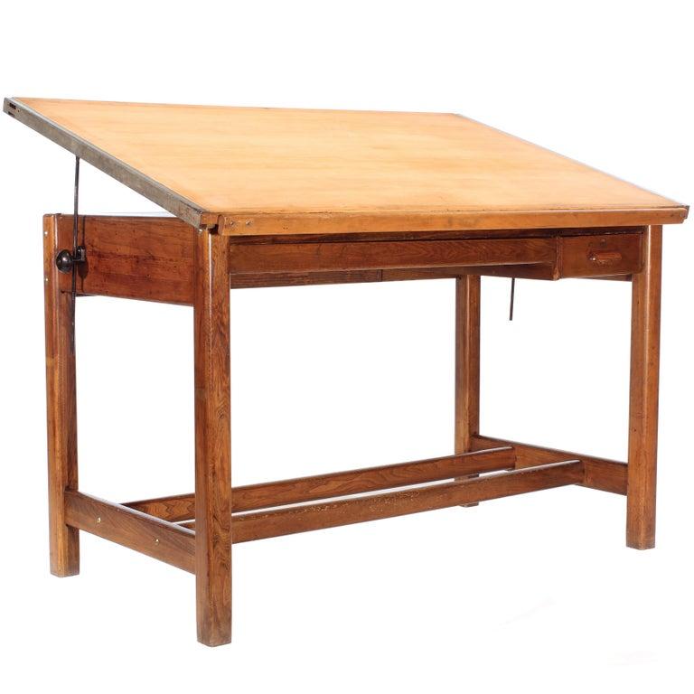 Vintage Hamilton Oak Industrial Draftsman's Desk