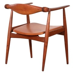 Hans Wegner CH34 Chair in Teak and Cognac Leather for Carl Hansen & Søn, Denmark