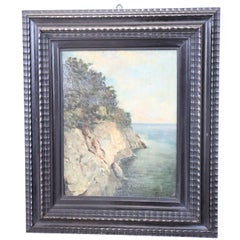 20th Century Oil Painting on Wood Table Signed Landscape of the Italian Coast