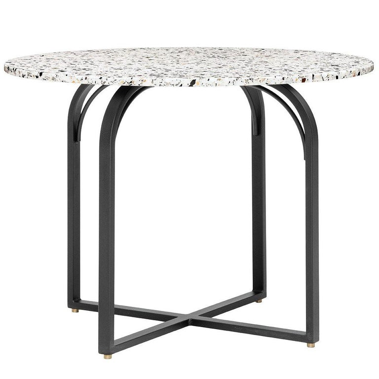Terrazo Dining Table, Contemporary Round Table in Terrazzo Top For Sale