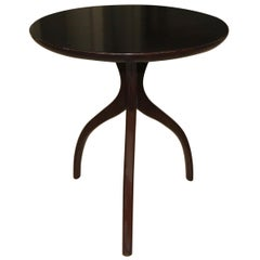 Tripod Dark Walnut Paul Frankl Style End Side Table
