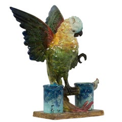 19th Century Delphin Massier, Parrot with Outstretched Wings