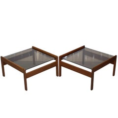 Pair of Mid-Century Modern 1960s Danish Teak Side Tables with Glass Tops Lovely
