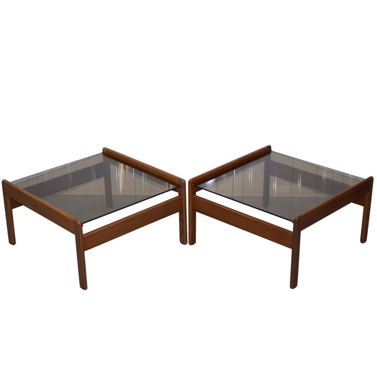 Pair of Mid-Century Modern 1960s Danish Teak Side Tables with Glass Tops Lovely For Sale