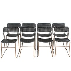 8 Italian Metal/Chrome Stackable Dining Chairs, Funzionalismo, Italy
