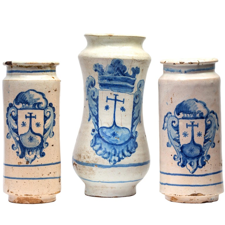 Set of Three 18th Century Spanish / Talavera Apothecary Jars or Albarelos For Sale