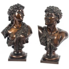 Pair of Bronze Busts Jean Baptiste Lebroc Bacchante and a Satyr, 19th Century