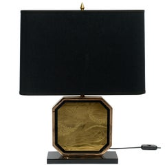 Brass Etched 23-Karat Gold-Plated Table Lamp by George Matthias