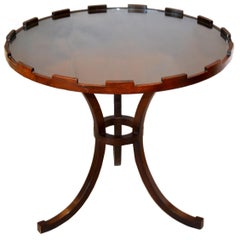 Round Walnut Side Table with Glass Top by Baker