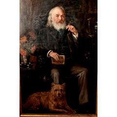 Very Large Oil Painting, Portrait of an Old Gentleman and His dog