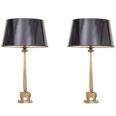 Hollywood Regency Style Candelabra Table Lamps in Brass, 1970s