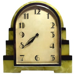 Art Deco Onyx and Chrome 8 Day Clock