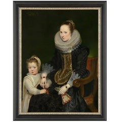 Noble Lady and Daughter, after Baroque Oil Painting by Cornelis de Vos